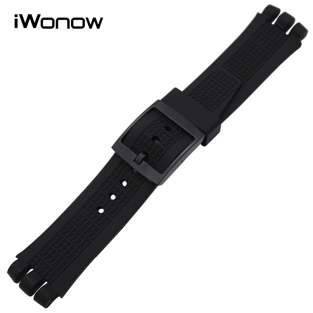 21mm Silicone Rubber Watchband for Swatch YNS4001 Watch Band Wrist Strap Replacement Belt Resin Bracelet Black White Transparent eache silicone watch band strap replacement watch band can fit for swatch 17mm 19mm men women