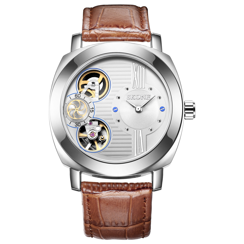 SKONE Automatic Mechanical Watches Men TOP Brand Luxury Waterproof Genuine Leather Strap Mens Square Skeleton Wrist Watch Hollow