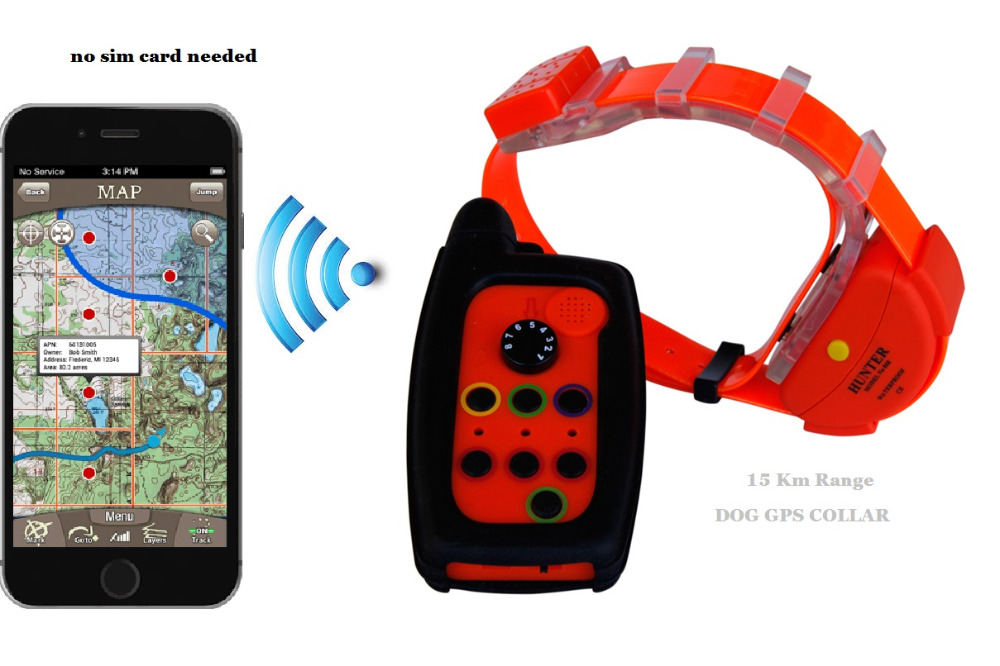 WATERPROOF DOG GPS TRACKER COLLAR SU SIM kortelėmis