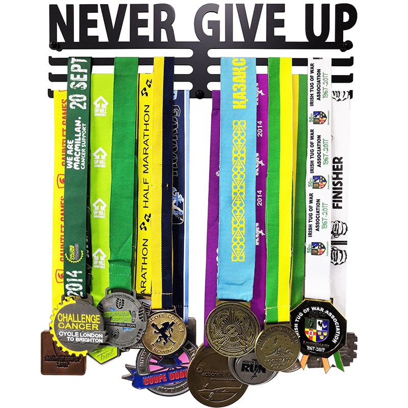 2mm Thick Iron NEVER GIVE UP Sport Medal Hanger