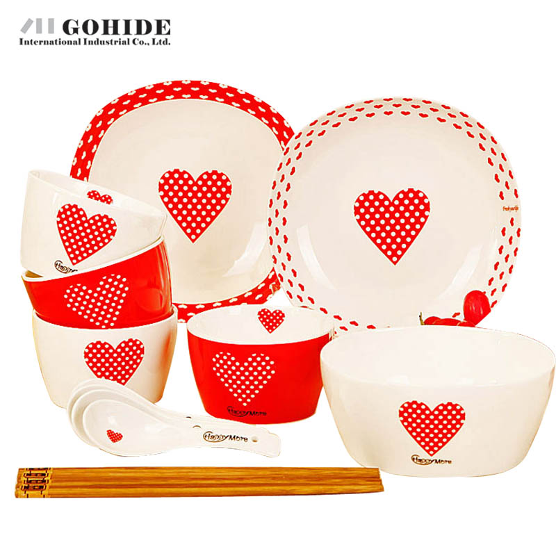 Gohide Red Cartoon 15pcs/Set Lusterware Dinnerware Set Lovers Small  Tableware Bowl Christmas Day Gift