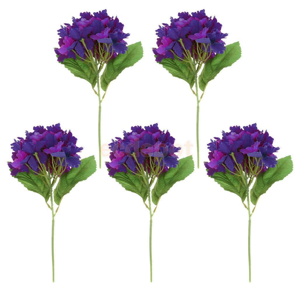 5pieces Artificial Hydrangea Silk Flower Bridal Home Wedding Bridal