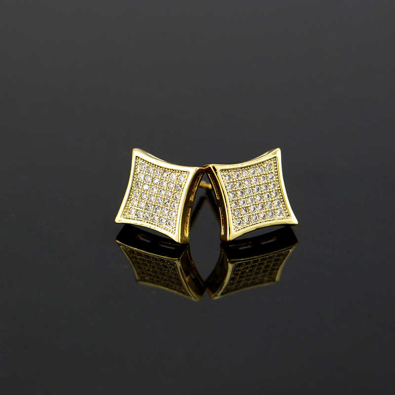 d68403b73 ... LuReen Hip Hop Gold Silver Earrings Men Rhinestone Micro Pave Cz Square  Shape Stud Earrings For