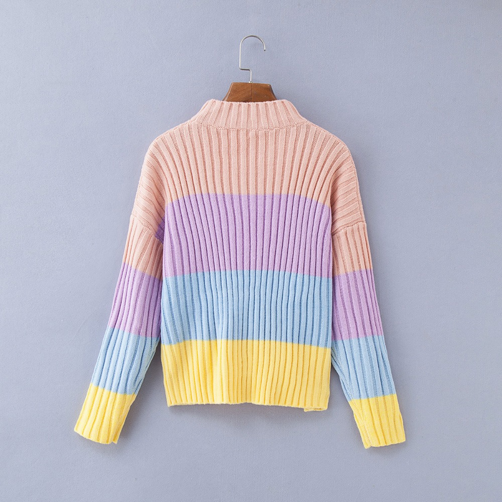 Cryptographic oversized sweaters women knitted clothes patchwork fashion  macaron pullovers female jumper 2018 winter pull sweat-in Pullovers from  Women s ... a307cad50