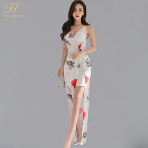 1e33e596c1 H Han Queen Sexy Long Casual Printed Beach Summer Dress