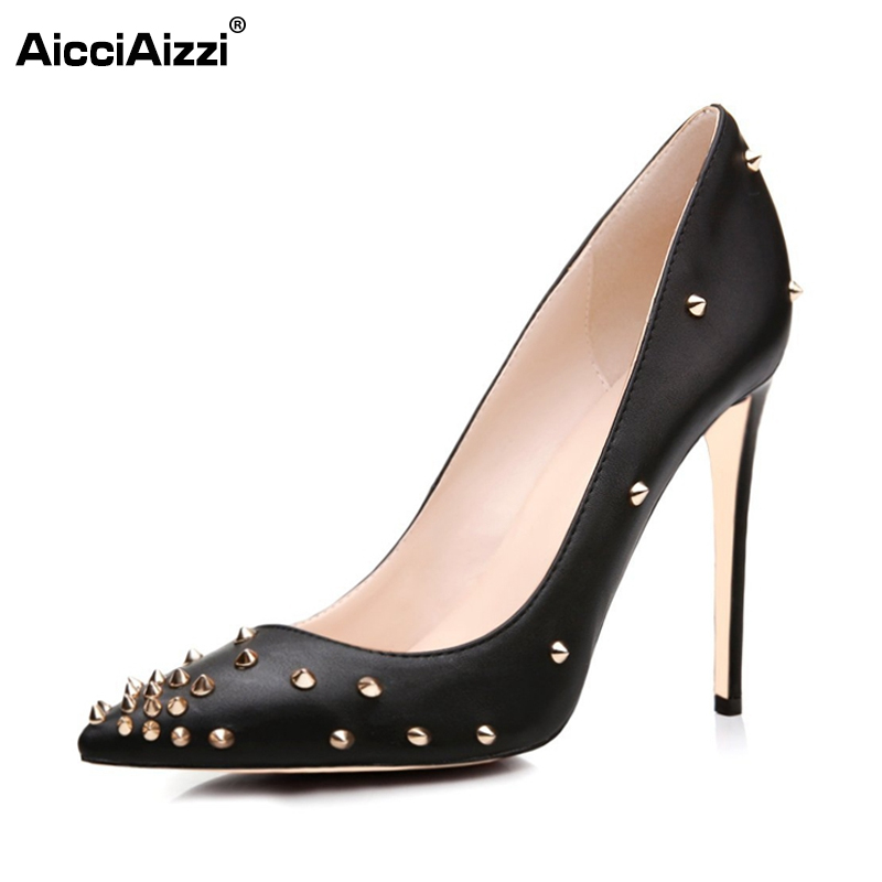 Woman High Heels Patent Leather Shoes Women Pumps Stiletto Thin Heel Pointed Toe Sexy Rivets Heels Wedding Shoes Size 35-46 B186 нож kershaw brawler k1990