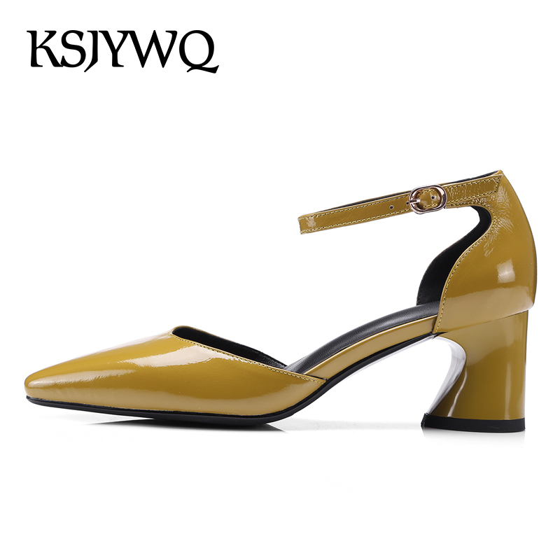 KSJYWQ Yellow Leather Plus Size Women Sandals 5.5 CM Chunky Heels Summer Dress Shoes Sexy Pointed-toe Pumps Box Packing L12-1 ksjywq plus size women red pumps slip on summer dress shoes 10 cm high heels sexy pointed toe woman stilettos box packing 1259 1