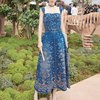 Women Denim Embroidery Vestidos 2017 New Fashion Vintage A Line High Waist Female Dresses Female Sleeveless