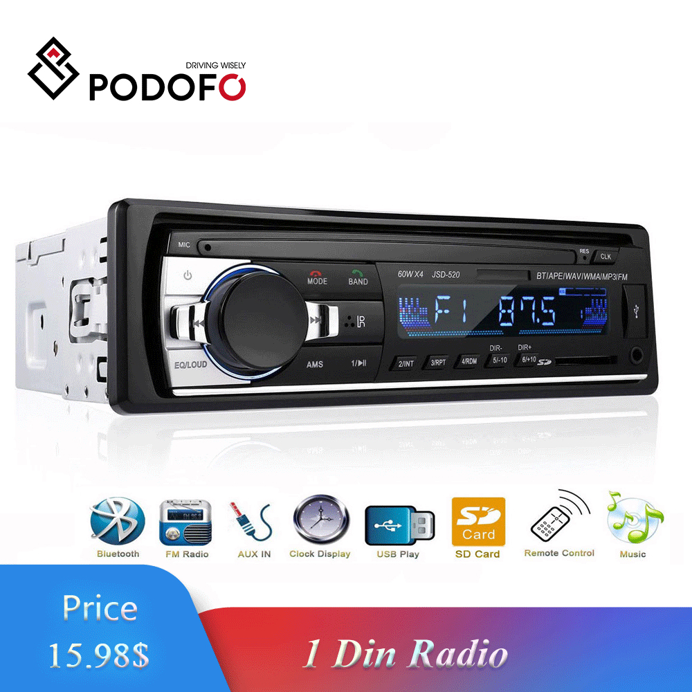 Podofo 1 DIN In-Dash Car Audio 12V Radios Car Stereo Bluetooth JSD52 Remote Control Charger Phone USB/SD/AUX-IN Audio MP3 Player