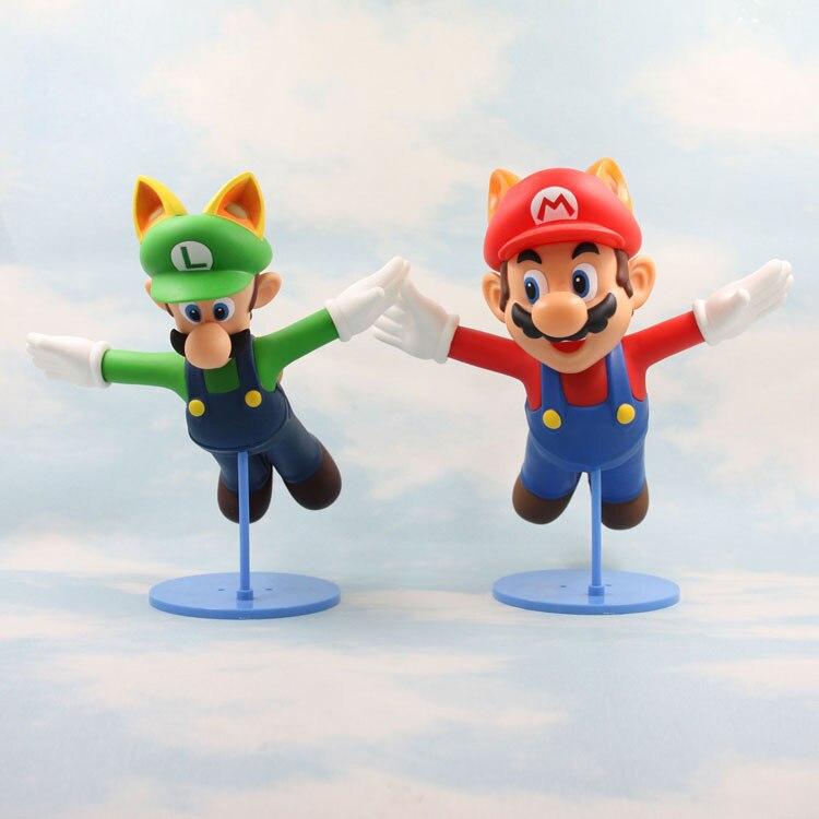 2pcs 23cm <font><b>Cute</b></font> Anime <font><b>Cartoon</b></font> <font><b>Super</b></font> <font><b>Mario</b></font> flying palm civet <font><b>Mario</b></font>&Louie color box <font><b>PVC</b></font> Action&figures Classic model collection toy