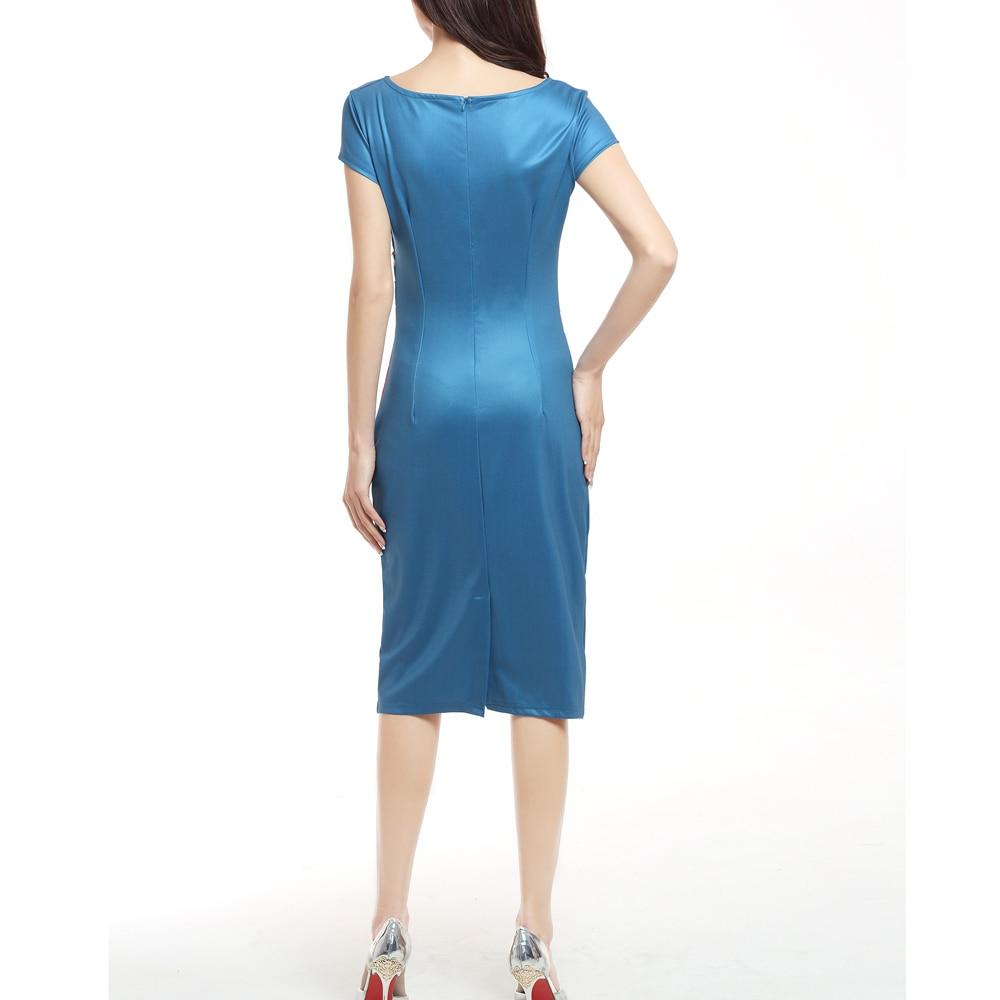 SAUCY ANGELIA Women Print Navy Blue Summer Dress 2017 Zip Stretchy ...