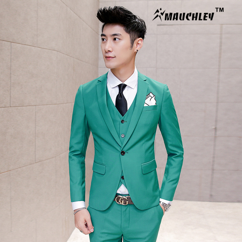 Burgundy Suit Jacket 3 Pieces (Jacket+Vest+Pant) Tuxedo Mens Prom ...
