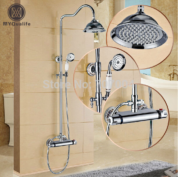 Polished Chrome Wall Mount Temperature Control Shower Faucet Set Brass Thermostatic Mixer Valve with Handshower wall mount single handle bath shower faucet with handshower antique brass bathroom shower mixer tap