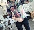 Plus Size Camisa Xadrez Mulheres 2016 Outono Estilo Coreano Novo Colarinho moda Camisa de Manga Longa Mulheres Casuais Blusas de Linho de Algodão topos