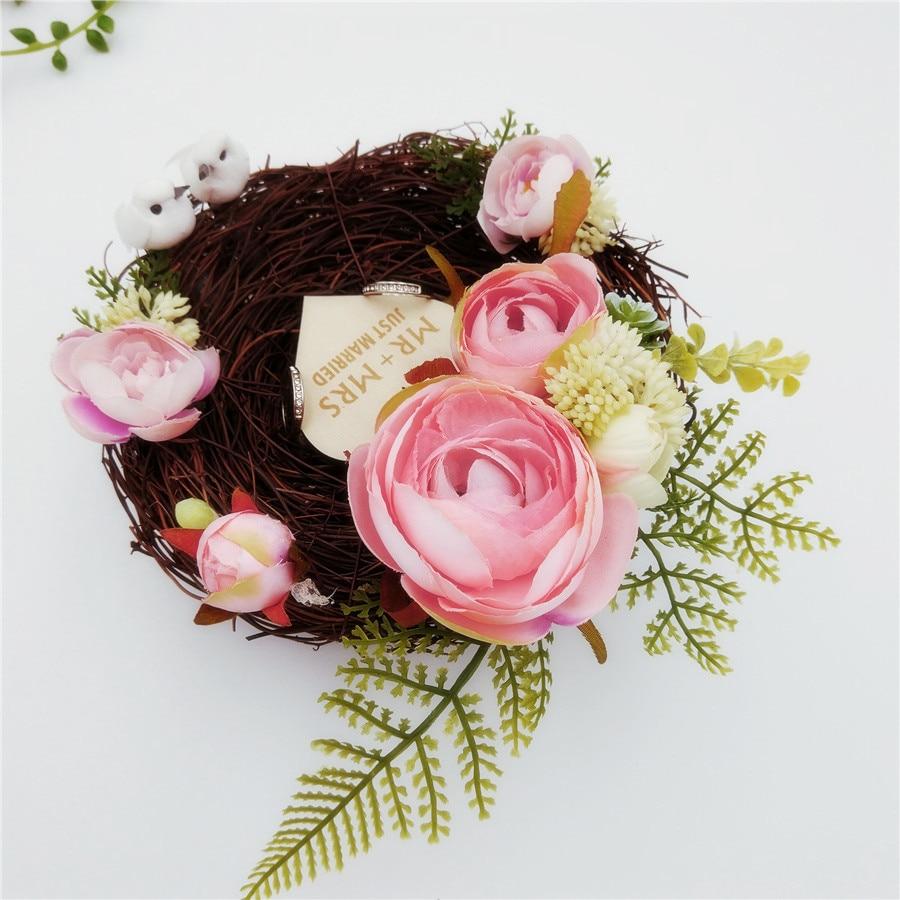 Handmade Bird Nest Wedding Ring Pillow Forest Style Romantic Pink ...