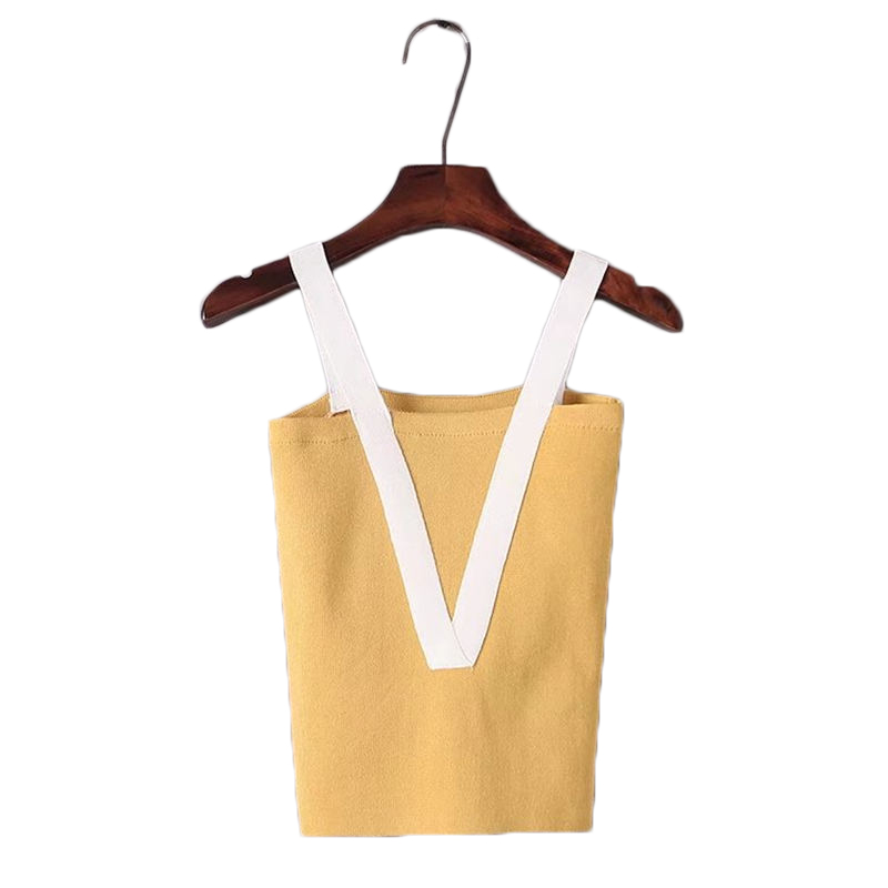 Knitted Tank Tops Female Sexy V-neck Vest Plus size Solid Club Tops Women Yellow T shirt Cotton Polyester Casual Tank Top