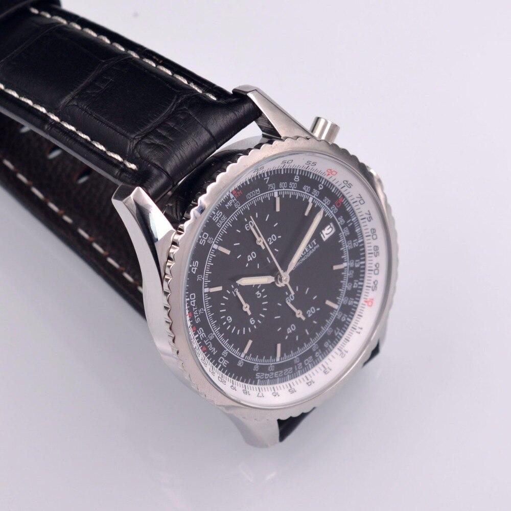 46mm Corgeut schwarz Quarz herren uhr sport uhr VOLL Chronograph Leder-in Quarz-Uhren aus Uhren bei  Gruppe 3