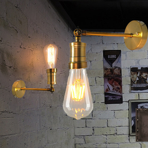 Image 3 - Nordic Creative Adjustable E27 Wall Light Retro Iron Gold Bronze Aisle Wall Lamp For Restaurant Bar Cafe Bedroom Apartment Hotel