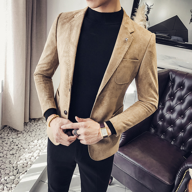 Spring and autumn new suede jacket Korean men's self-cultivation suits single-Western clothing trends West male
