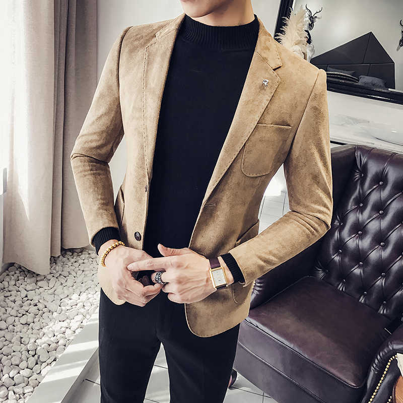 2c0a1af73 Spring and autumn new suede jacket Korean men's self-cultivation suits  single-Western clothing