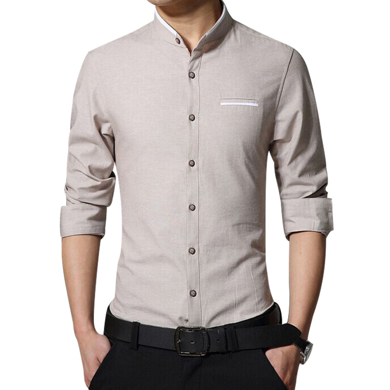 M/&S/&W Mens Stand Collar Cotton Linen Button up Chinese Style Dress Shirts