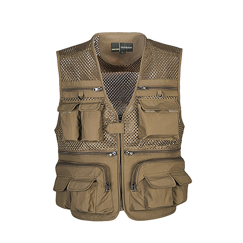 2017 Multi pockets Vest Men Photography Cameraman Mesh Vest for Director Reporter Vests Sleeveless Jacket Size L XXXXL