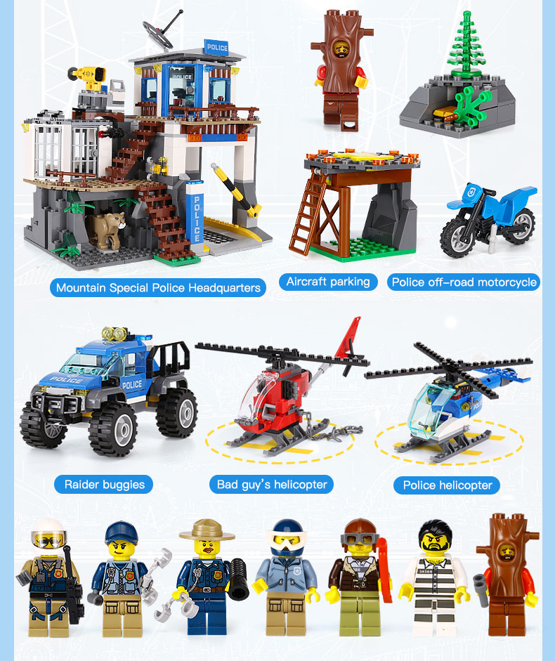 City Series The Mountain Police Headquater Set Building Blocks Bricks Toys Model