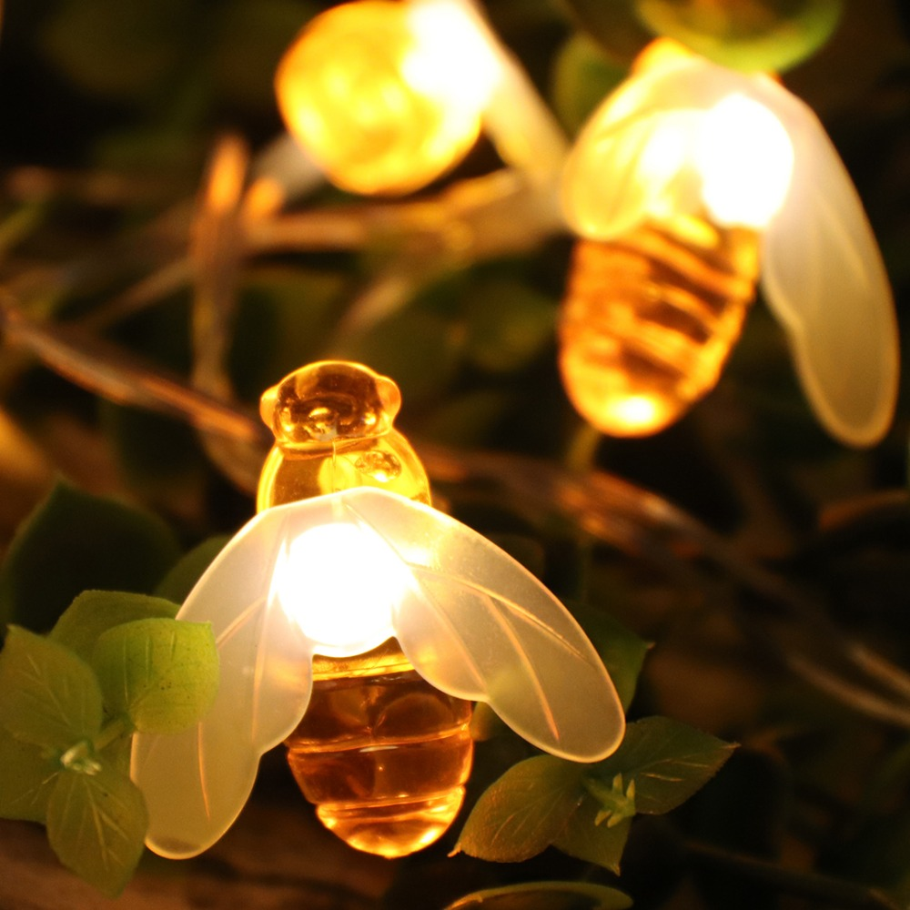 Creative 10 LED Bee Shape String Lights Holiday Decoration Luminary - Festlig belysning