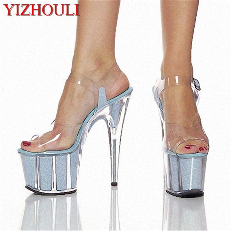 15 / 20 centimètres de crystal sandales, sandales, talons hauts, nuit des chaussures ,15 centimètres d'argent