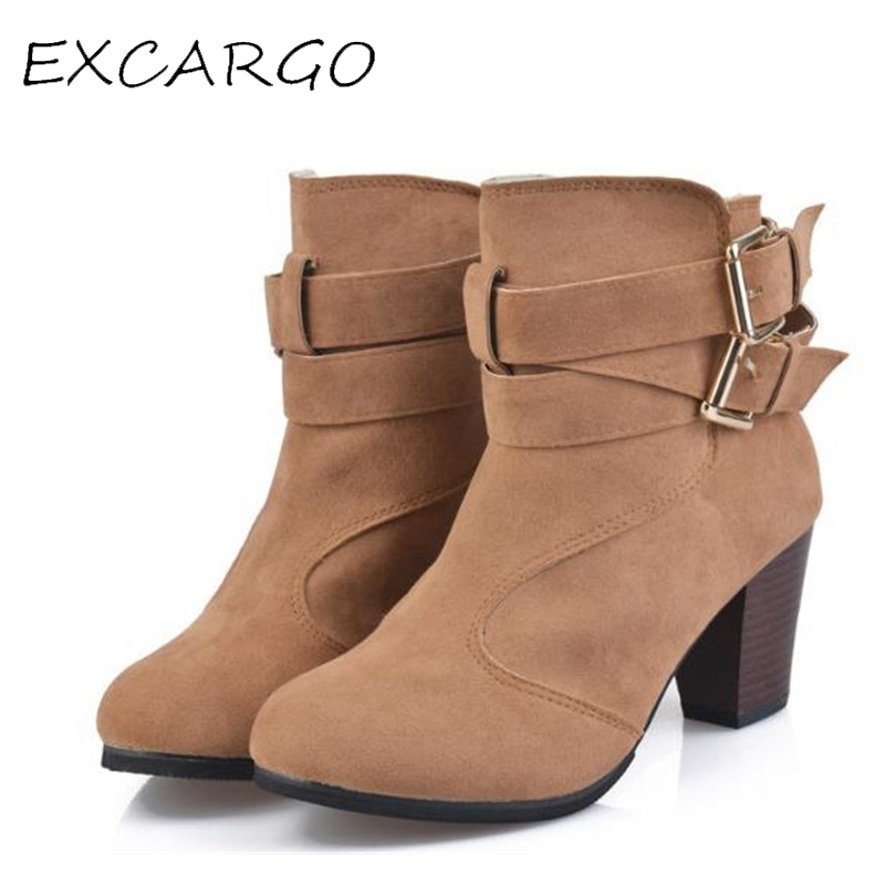 Women's Boots Ankle Boot Fashion Buckle Spring & Autumn Rubber Boot Women Ankle Boots High Heel Pointed Toe Plus Size 43 Shoes new 2017 spring summer women shoes pointed toe high quality brand fashion womens flats ladies plus size 41 sweet flock t179