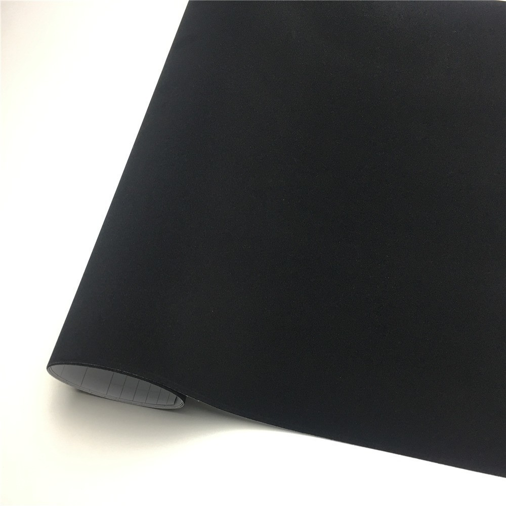 Black Velvet Vinyl Car Wrap Film Suede Wrapping Sticker Bubble Free For Car Interior Decal Console Computer Skin