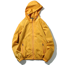 цена на Spring Autumn Solid Color Men Windbreaker Hooded Couple Thin Jacket Plus Size M-5XL Casual Zipper Hip Hop Mens Jackets and Coats