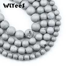 WLYeeS 6-10mm Plating Dull Polish Silver gap Carnelian Beads Onyx Round Loose Natural Stone for DIY Jewelry Making