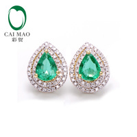 14k Yellow Gold 2 8ctw Natural Emerald Diamond Earrings Studs Gorgeous Jewelry