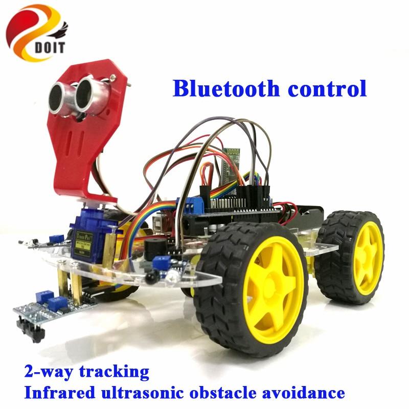 Doit Bluetooth Steuer 4wd Roboter Auto Chassis Mit Uno R3 Bord Motor Drive Schild Bord Ultraschall Sensor Für Tracking Hindernis Strukturelle Behinderungen
