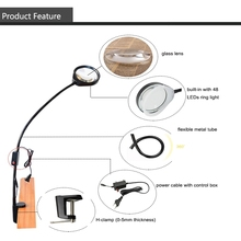 купить LED Desk Magnifying Lamp Architect Task Magnifier Lamp 10X Lens Metal Long Arm Dimmable Table Lamp with Clamp Black дешево