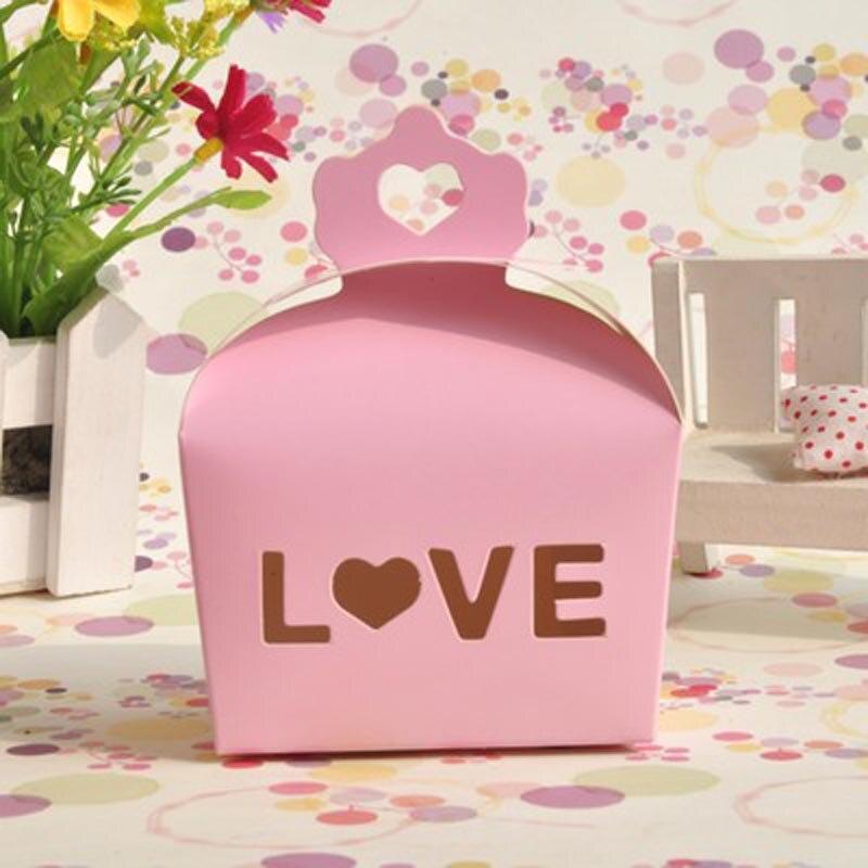 ᗚ100 unids/lote DIY hueco amor caramelo caja creativa pequeña ...