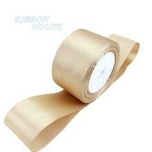 (25 ярдов/рулон) 2 »50 мм шампанского Свадебные украшения ленты одно лицо атласная лента подарок Рождество лентами