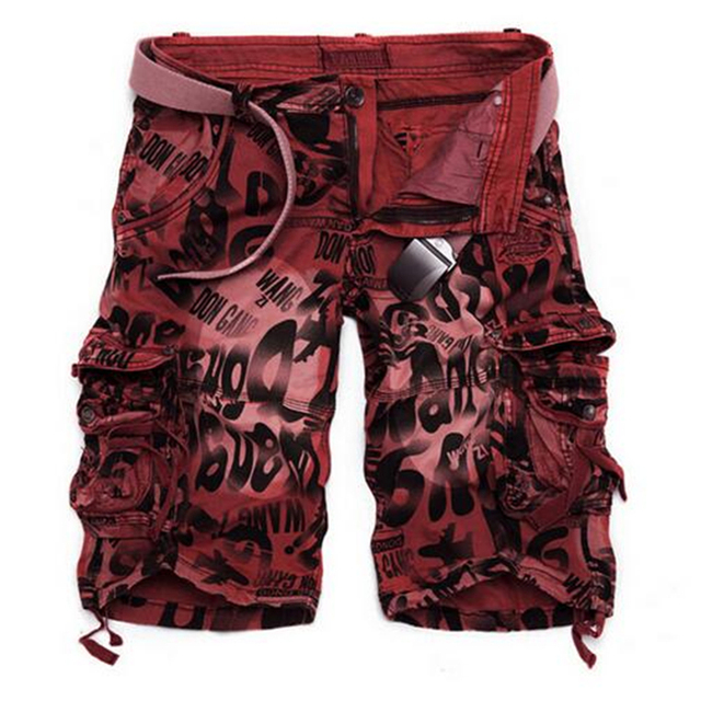 Camouflage Cargo Shorts Wine Red