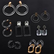 Hot Sale 2019 Geometric Transparent Acrylic Hoop earring For Women Simple Big Circle Acetate Statement Boho Wedding