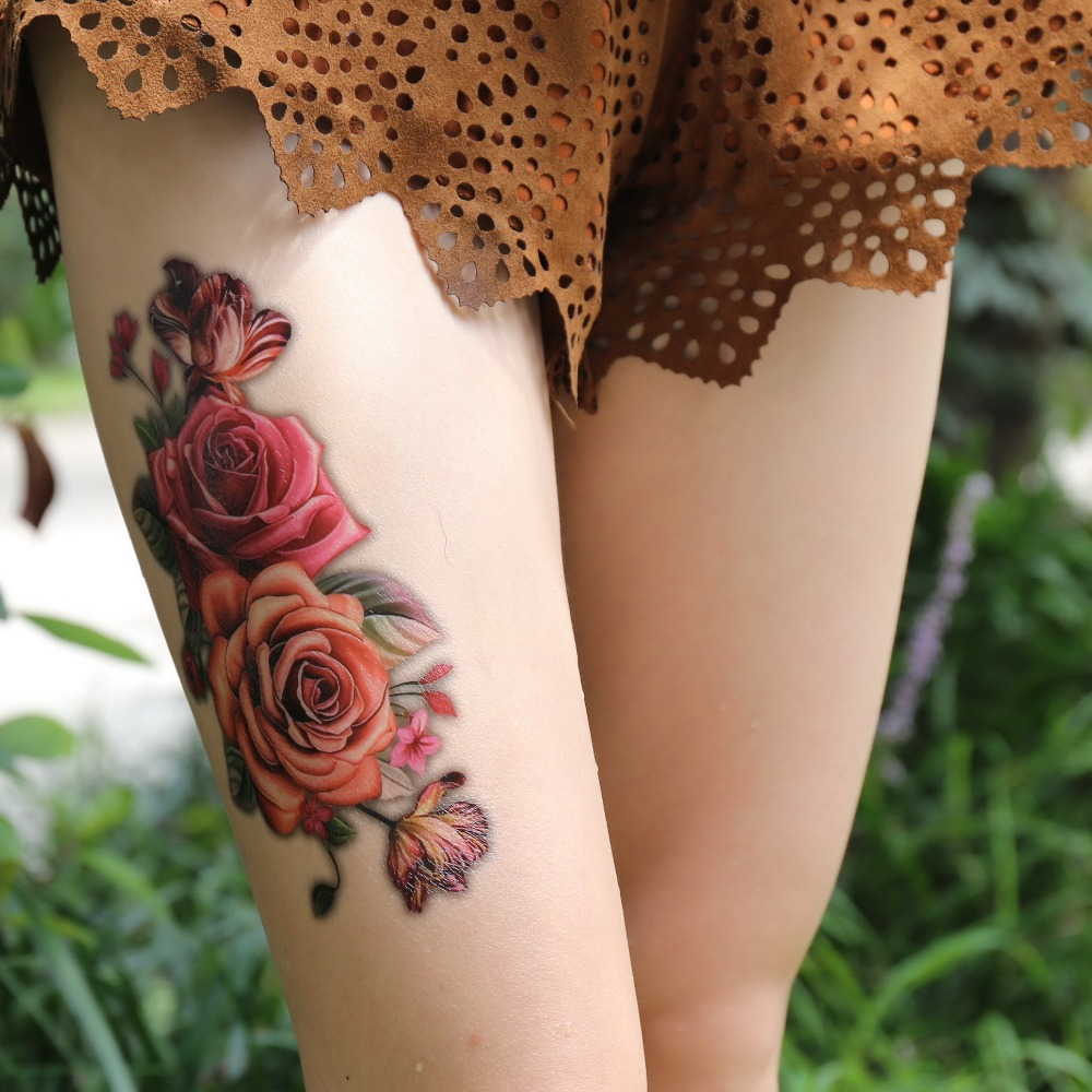 Hot Indian Arabic Fake Temporary Tattoos Stickers 3D Rose Flowers Arm Shoulder Thigh Tattoo Waterproof For Women Big On Body Art