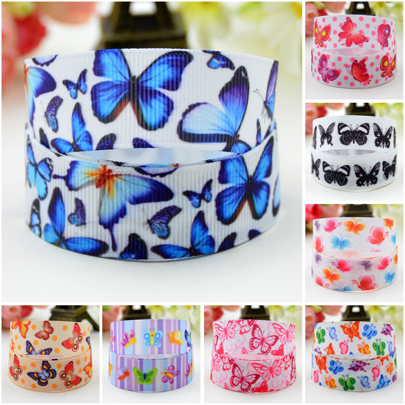 7/8'' (22mm) Butterfly Cartoon Character Printed Grosgrain Ribbon Party Decoration Satin Ribbons OEM 10 Yards