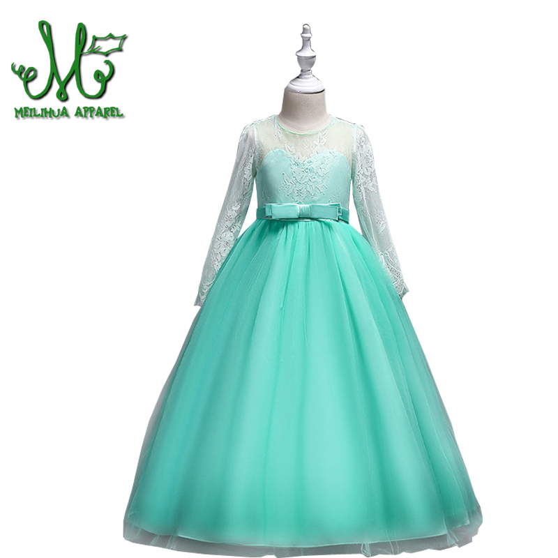 6 8 10 12 14 16 Years 2018 First Communion Dresses for Girls Ankle Length Flower Girl Dress Long Sleeve Lace Princess Dress uniquewho girls women floral denim shirt dress birds flowers embroidery dress long sleeve elastic waist ankle length shirtdress