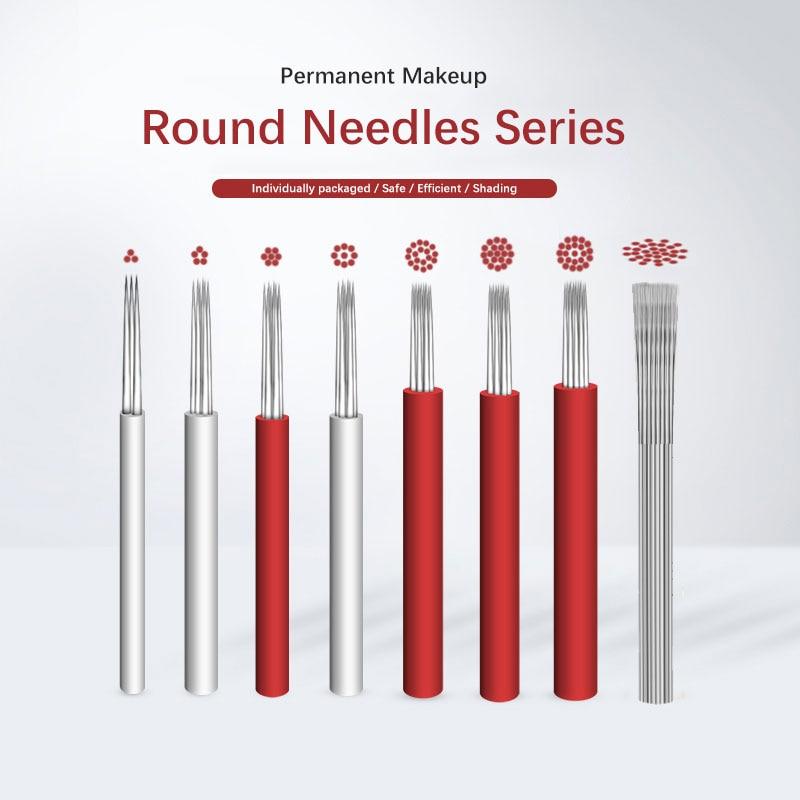 100pcs Microblading Needles Fog Eyeborw Semi Permanent Makeup Blade Shading Round Fog Eyebrow Tattoo Needle For Manual Pen