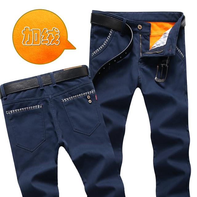 Nuevos pantalones hombres pantalones de Invierno, Además de terciopelo grueso pantalones calientes de lana de gran tamaño flojos ocasionales de negocio masculino elástica entrega gratuita