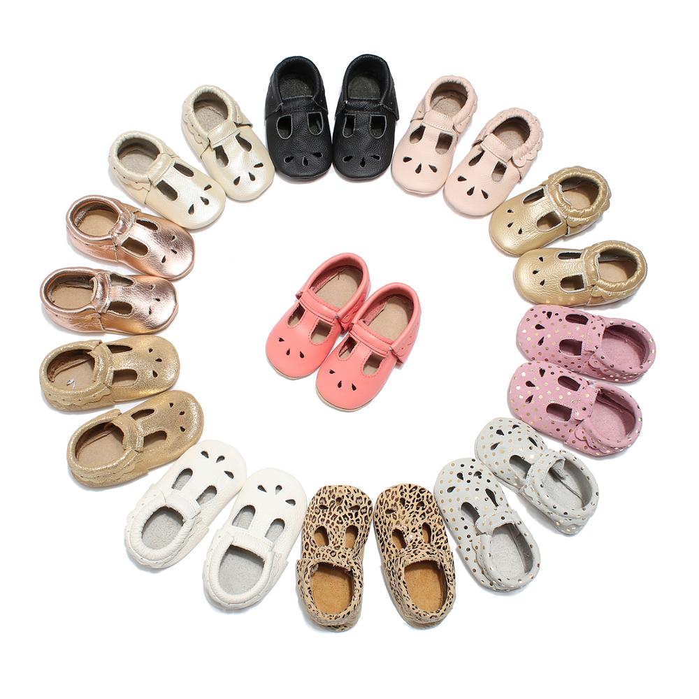 2019 New Mary Jane Baby Girls Ballet Flats Dress Shoes Walker T-strap Leather Toddler Kids T-strap Baby Moccasin T Bar Shoes