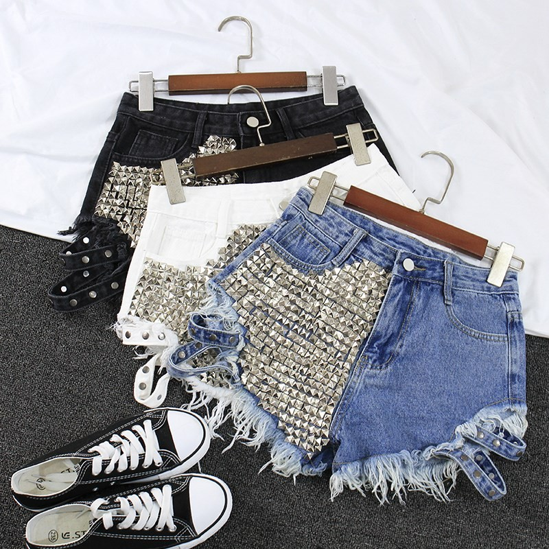 2019 Women's Fashion Brand Vintage Tassel Rivet Ripped High Waisted Short Jeans Punk Sexy Hot Woman Denim Shorts