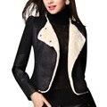 2015 Hot Autumn Winter Leather Jacket Women Faux Suede Fur Coat Vintage Lapel wool Lamb Jacket Patchwork Shearling Suede Coat