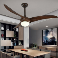 Wooden ceiling fan with light for Living room Bedroom Kitchen 52 inch remote control ceiling fan light indoor house lighting