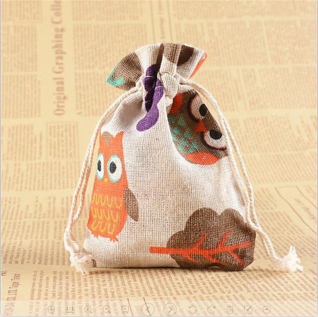 christmas gift bag gift bags Snow owls on Christmas day cotton bags, package bags, 10 *14 cm